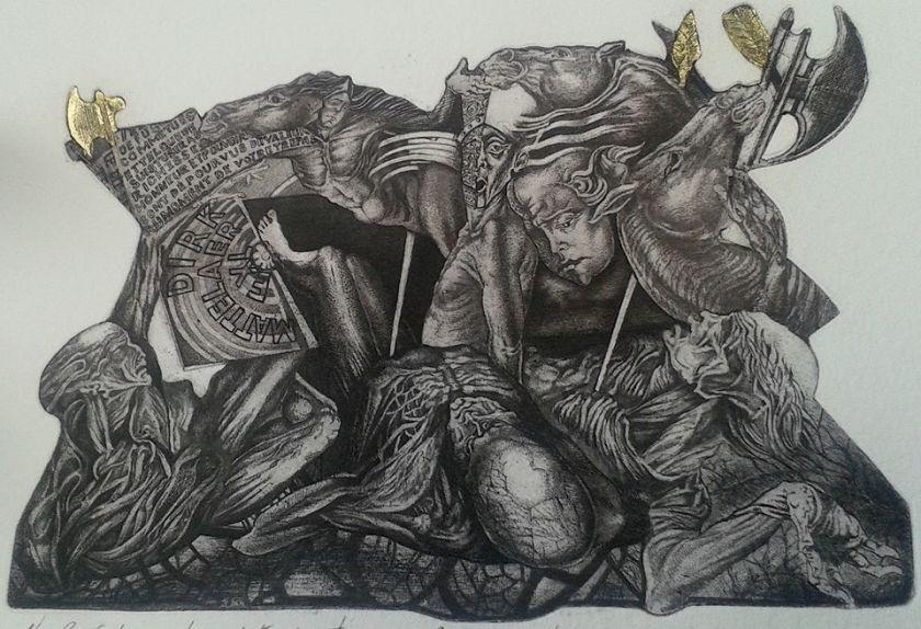 Le dit des trois vifs et trois morts, C3/Gold Leaf Collage, 2015